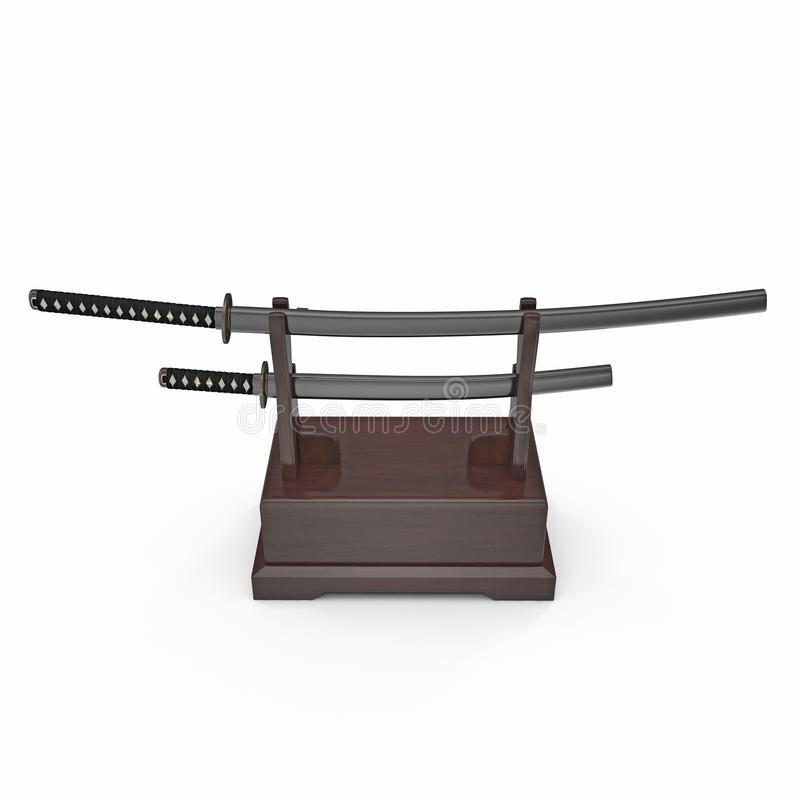 Double Katana Sword Stand With Drawer. 3D Illusration, render, isolated, white background. Double Katana Sword Stand With Drawer. 3D Illusration, render royalty free illustration