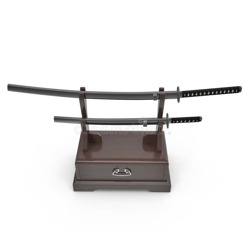 Double Katana Sword Stand With Drawer. 3D Illusration, render, isolated, white background. Double Katana Sword Stand With Drawer. 3D Illusration, render vector illustration