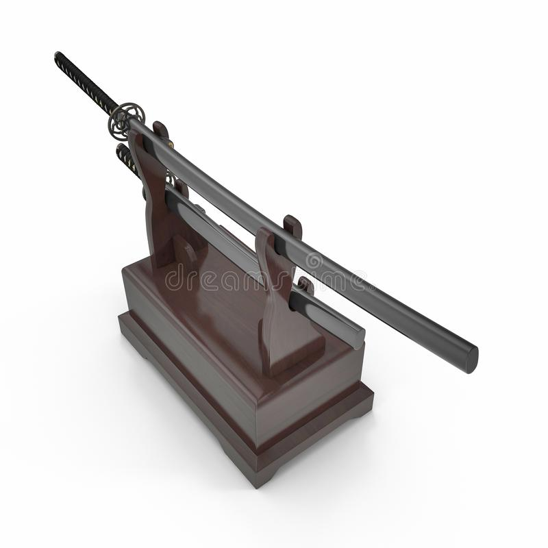 Double Katana Sword Stand With Drawer. 3D Illusration, render, isolated, white background. Double Katana Sword Stand With Drawer. 3D Illusration, render stock illustration