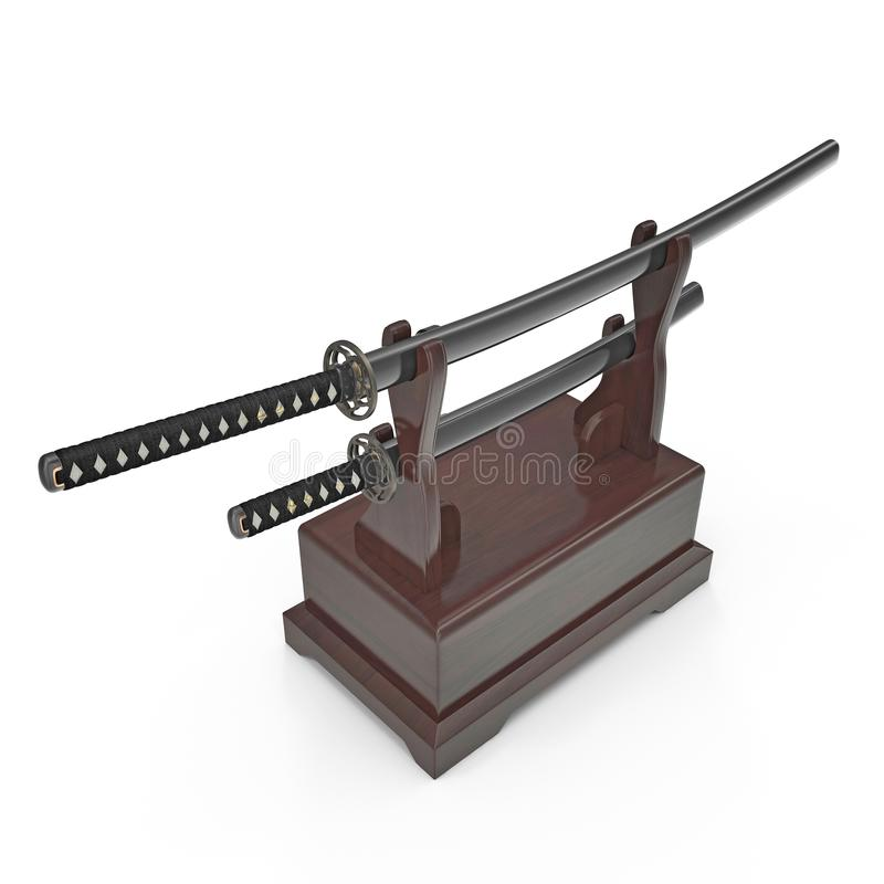 Double Katana Sword Stand With Drawer. 3D Illustration, render, isolated, white background. Double Katana Sword Stand With Drawer. 3D Illustration, render royalty free illustration
