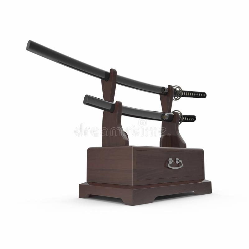 Double Katana Sword Stand With Drawer. 3D Illustration, render, isolated, white background. Double Katana Sword Stand With Drawer. 3D Illustration, render vector illustration