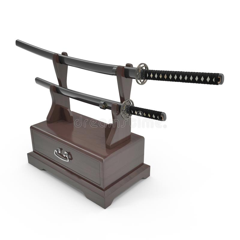 Double Katana Sword Stand With Drawer. 3D Illustration, render, isolated, white background. Double Katana Sword Stand With Drawer. 3D Illustration, render stock illustration