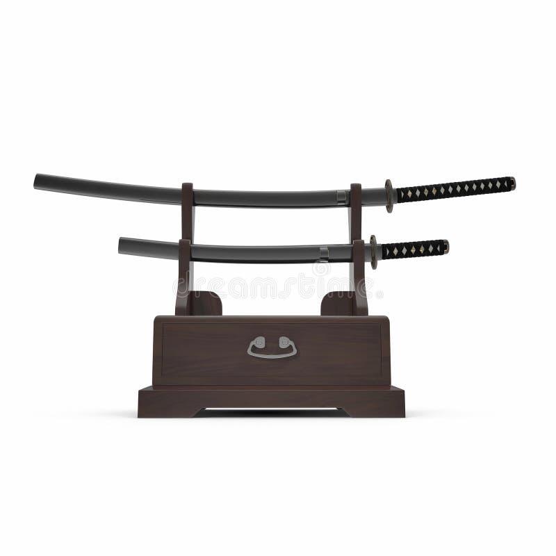 Double Katana Sword Stand With Drawer l'illustration 3D, rendent, vue de face d'isolement et sur le fond blanc illustration de vecteur