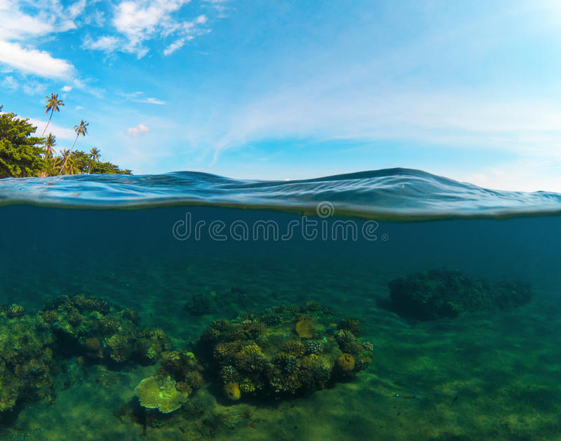 Double landscape with sea and sky. Split photo with tropical island and underwater coral reef. Clear blue sky and seawater. Above and below waterline seaview stock photo