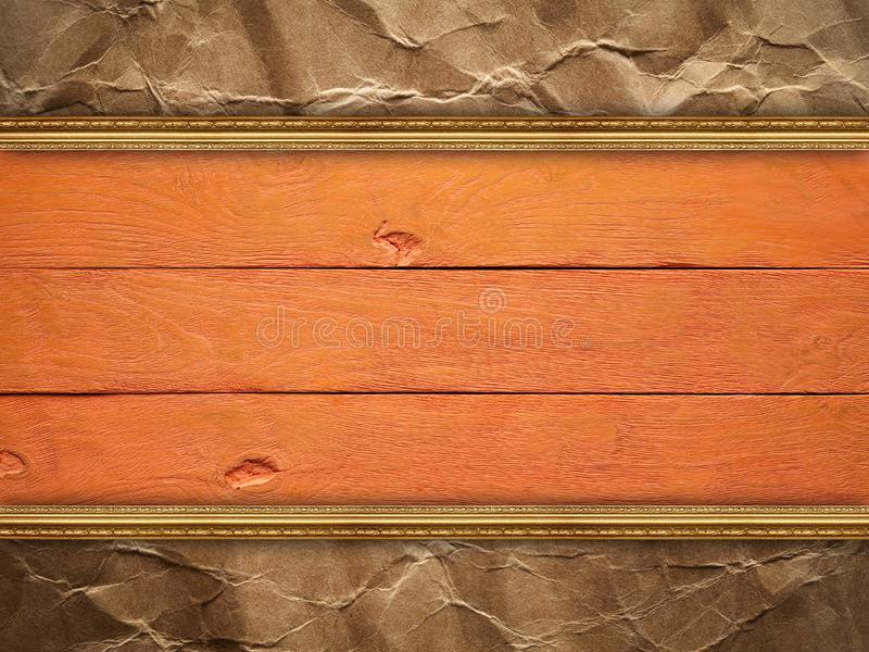 Double-layer background - wood and paper royalty free stock image