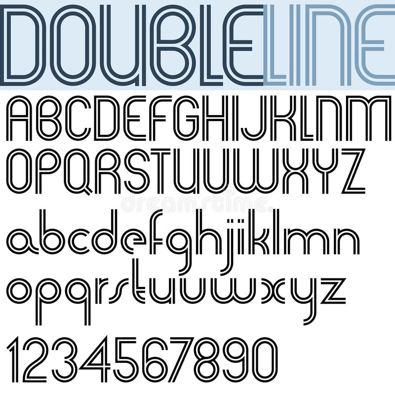 Double Line retro style geometric font, light version. Double Line retro style geometric font, light version, trendy and stylish letters alphabet. Best for use royalty free illustration