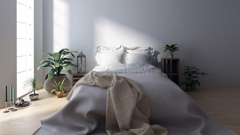 Double lit avec la couverture dans la chambre à coucher lumineuse illustration libre de droits