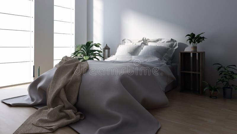 Double lit avec la couverture dans la chambre à coucher moderne illustration de vecteur
