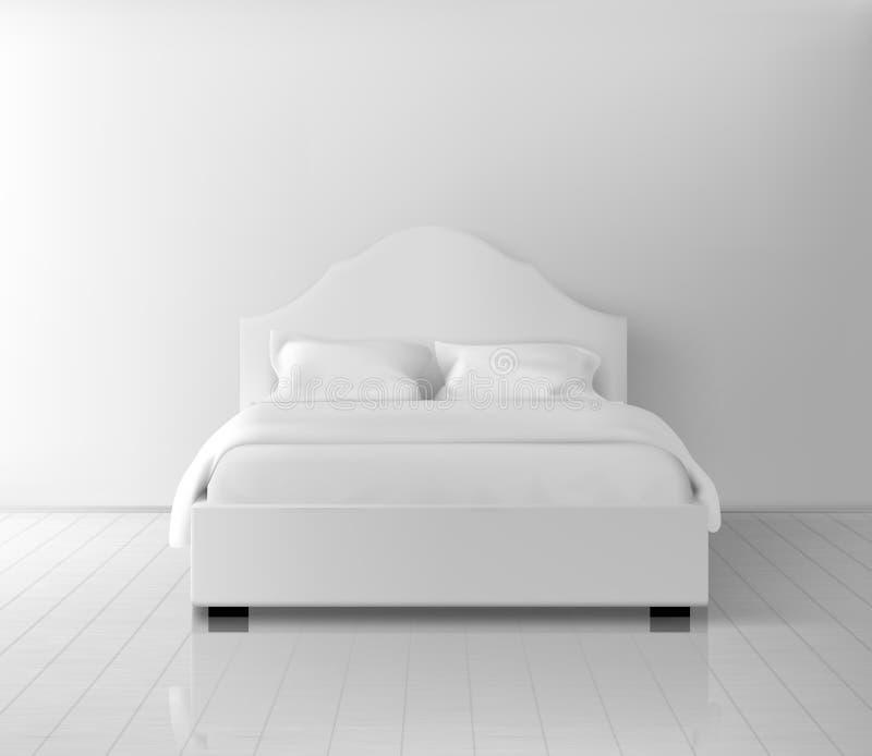 Double lit avec le vecteur réaliste de literie blanche illustration stock