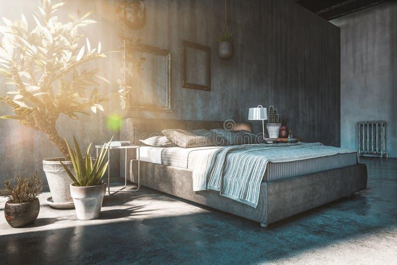 Double lit dans la chambre à coucher de style de grenier illustration de vecteur