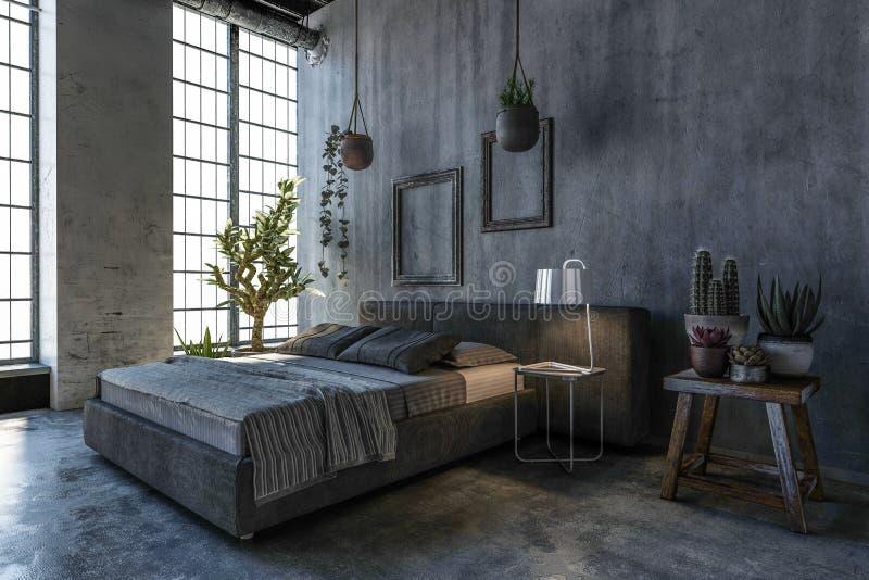Double lit dans la chambre à coucher de style de grenier avec la grande fenêtre illustration libre de droits