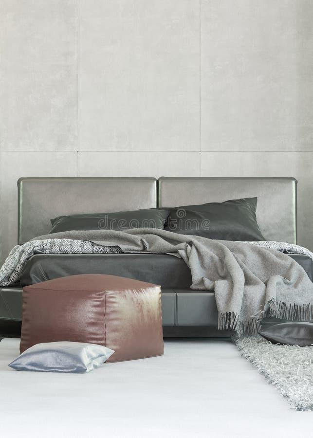 Double lit gris tapissé moderne illustration de vecteur