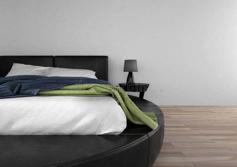Double lit rond dans la chambre à coucher spacieuse illustration libre de droits
