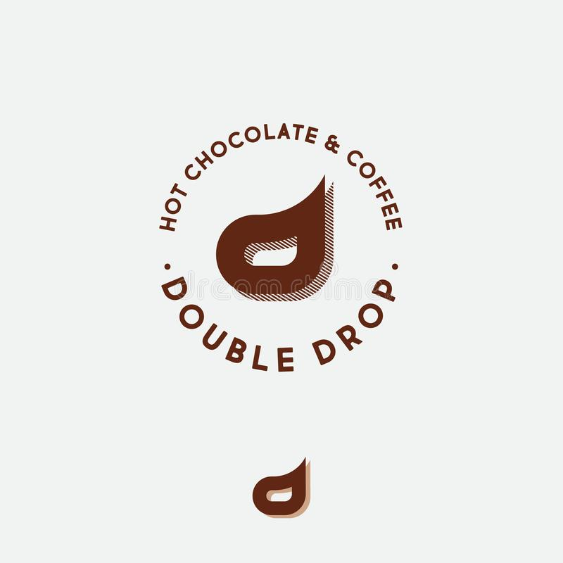 Double logo de D Emblème de café de café et de chocolat Deux lettres D illustration libre de droits