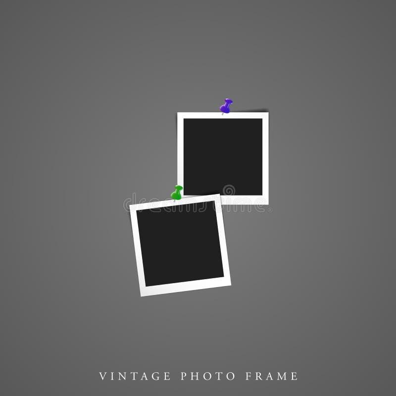 Double maquette vide unique de cadre de photo du cru deux illustration libre de droits