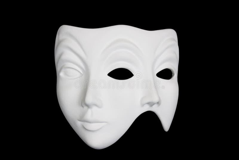 double masque d'isolement par visage noir au-dessus de blanc images stock