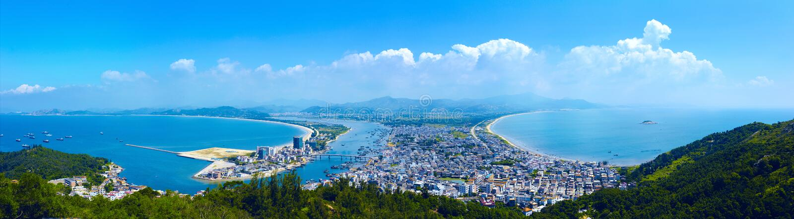 Double-Moon Bay. Bay Bay is divided into two-monthly, such as the level of Bay left-and right rough Bay.This is a picture of the whole city from the mountain royalty free stock photos