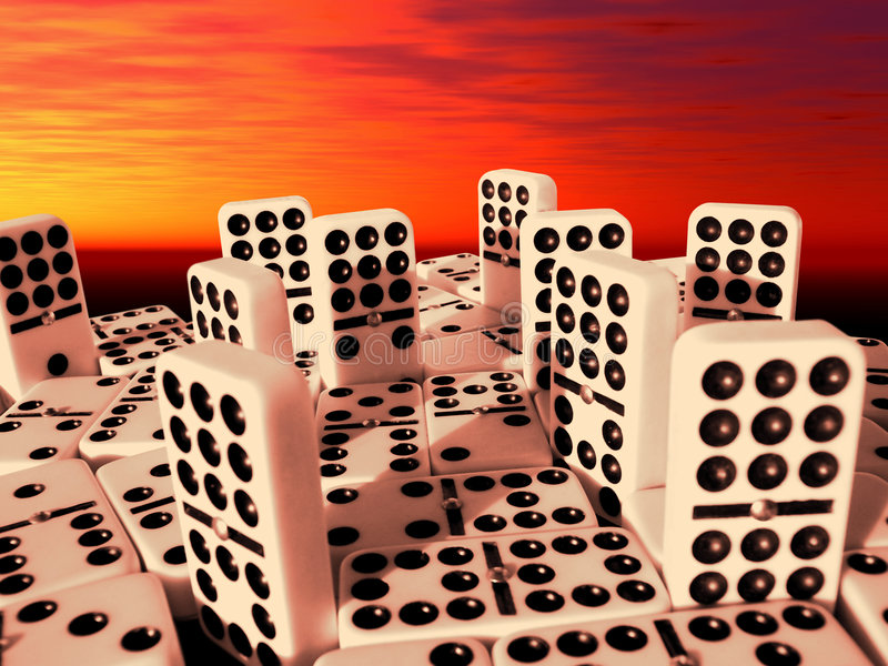 Double Nine Dominoes City Stock Photos