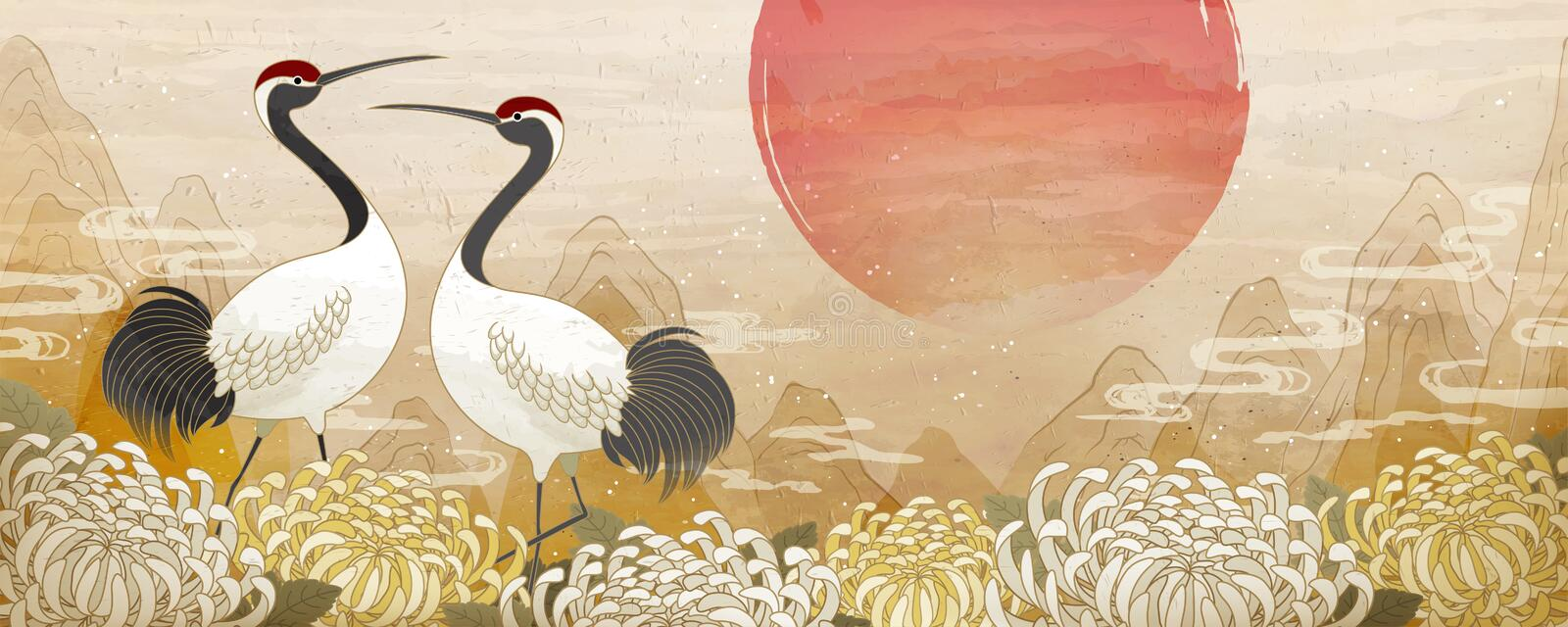 Double ninth festival design. Double ninth festival banner with symmetric red crowned crane and chrysanthemum background stock illustration