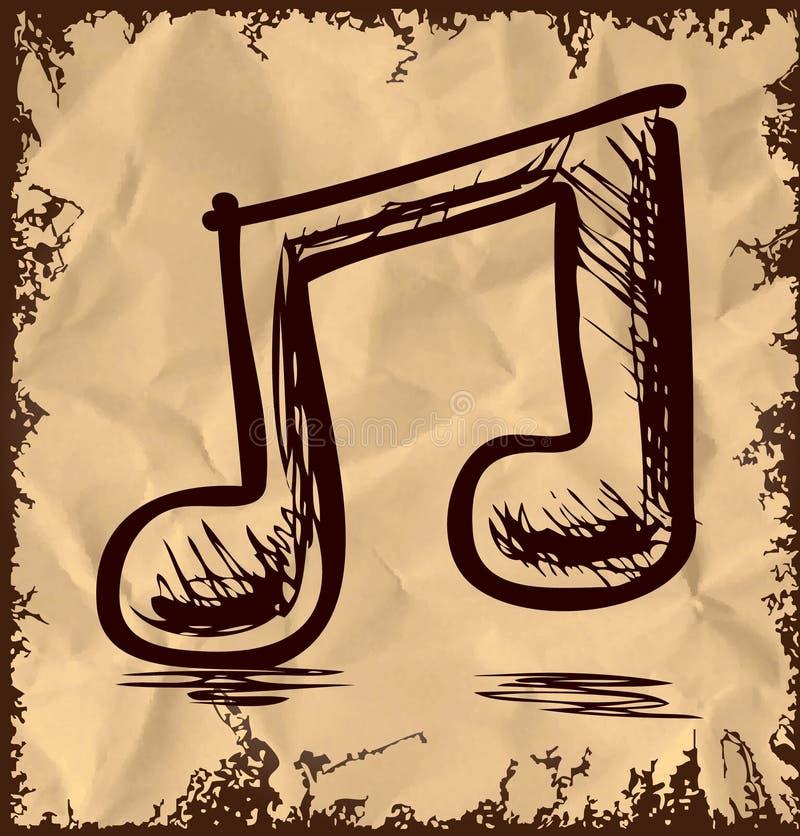 Double note de musique sur le fond de vintage illustration libre de droits