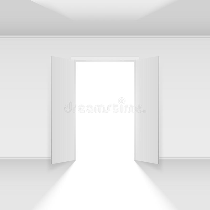 Double open door. With light. Illustration on empty background royalty free illustration