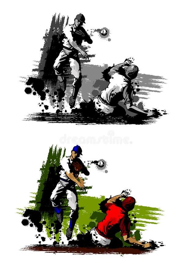 Double pièce de base-ball illustration de vecteur