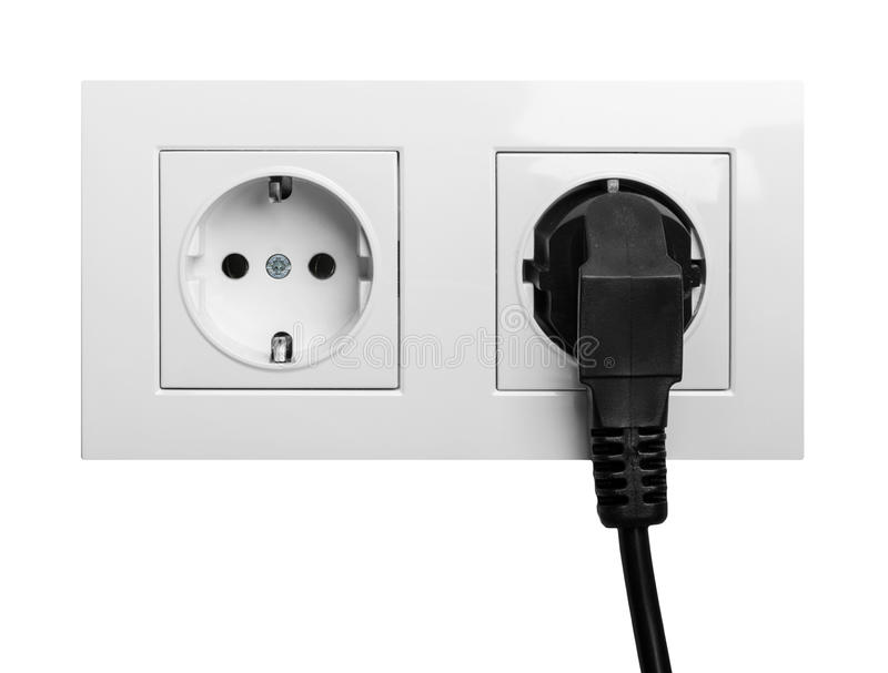 Double power European electric plug isolated on a white royalty free stock image