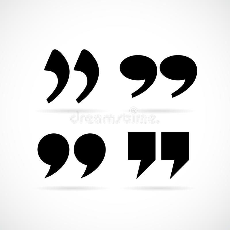 Double quote commas. Set vector illustration royalty free illustration