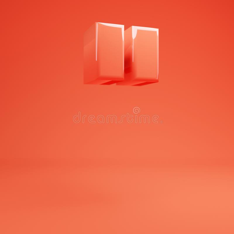 Double quotes symbol. Living Coral font with glossy reflections and shadow. Living Coral double quotes symbol. 3D rendered glossy coral alphabet type for poster vector illustration