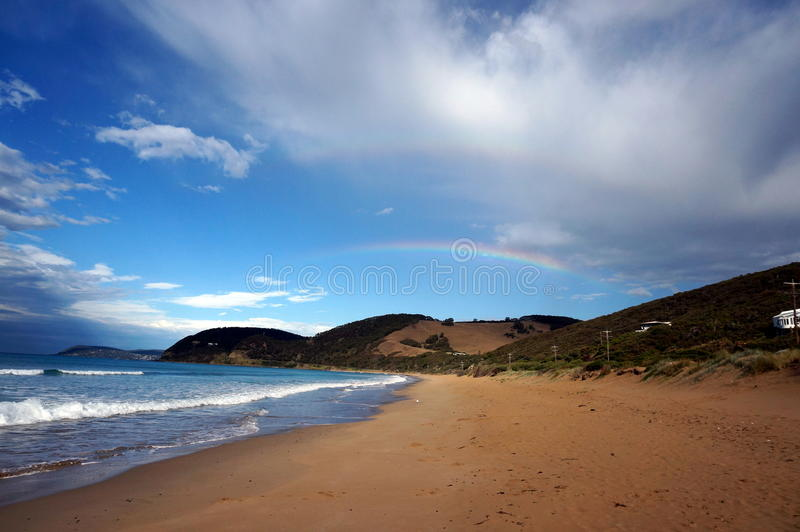 Double rainbow in the bay. Australia view, double rainbow in the bay royalty free stock photo