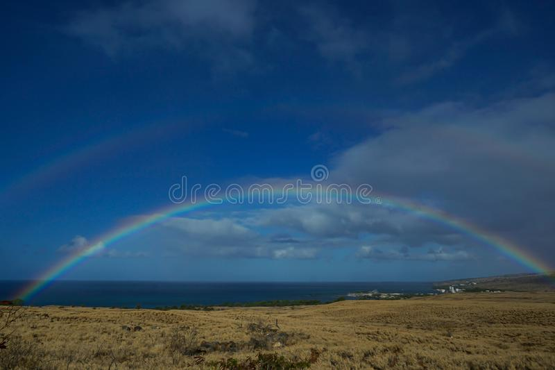 Double rainbow in the Big Island of Hawaii royalty free stock images