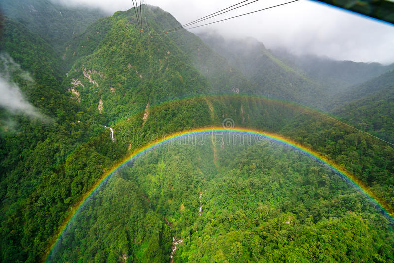 Double Rainbow from Fansipan Cable Car stock image