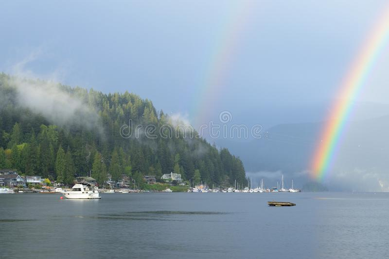 Double Rainbow Over Deep Cove, North Vancouver stock image
