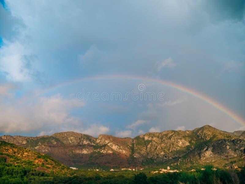 Double rainbow over the mountains. Montenegrin Mountains, the Ba. Lkans royalty free stock photos