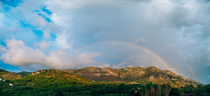 Double rainbow over the mountains. Montenegrin Mountains, the Ba. Lkans stock photos