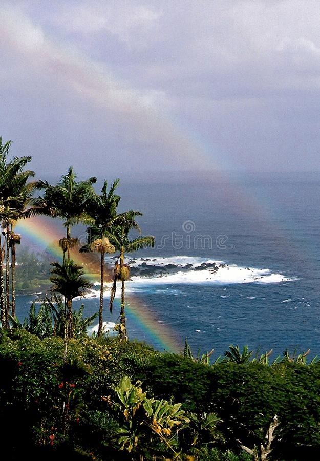 Double Rainbow Over the Ocean. Big Island, Hilo, Hawaii royalty free stock photo