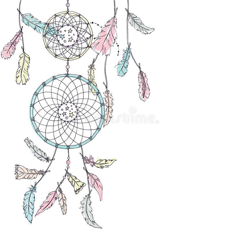Double receveur rêveur dans des couleurs en pastel illustration libre de droits