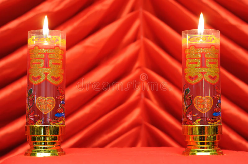 Double red candle. Chinese traditional wedding set with double red candle royalty free stock photo