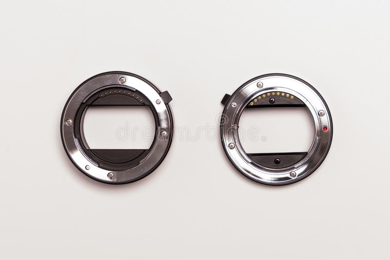 Double ring macro extension tube on white background royalty free stock image