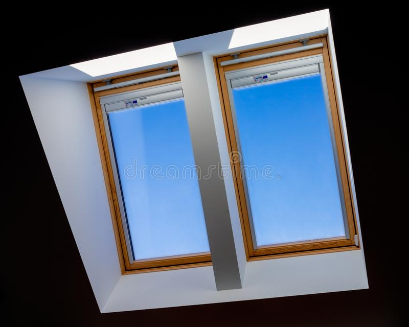 Double roof windows royalty free stock images