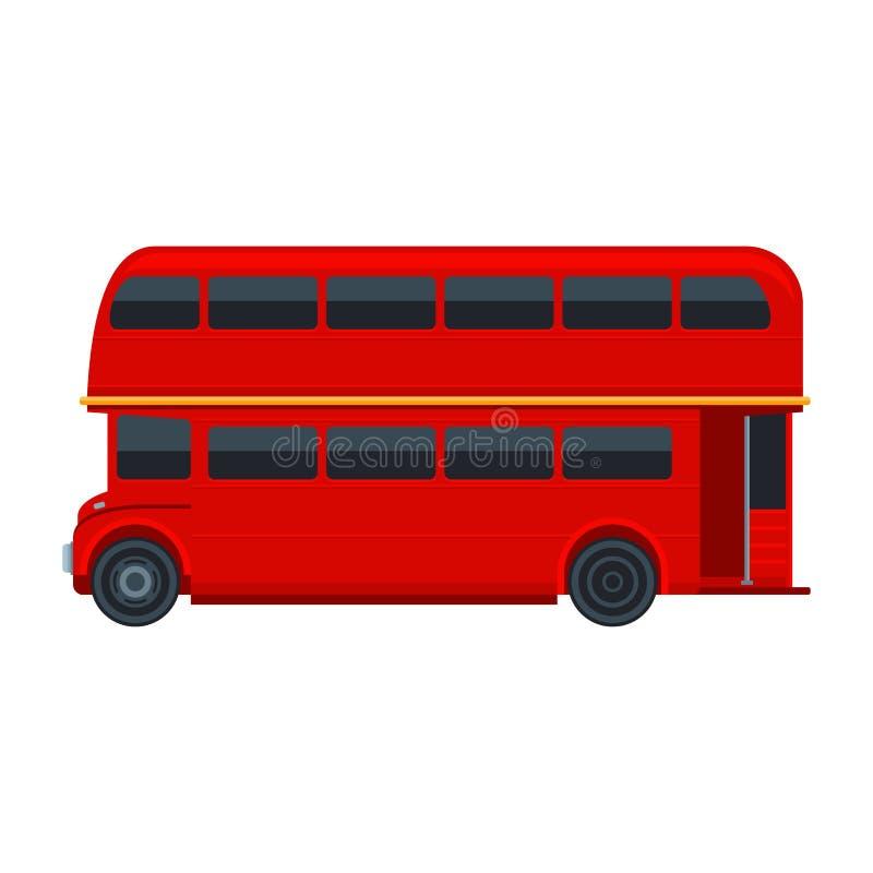Double rouge Decker Bus de Londres sur le fond blanc Vecteur illustration libre de droits