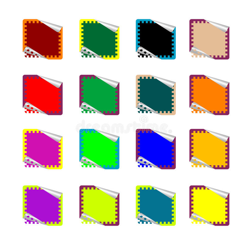 Download Double Rounded Rectangle Colored Stickers On White Stock Vector - Image: 11801732