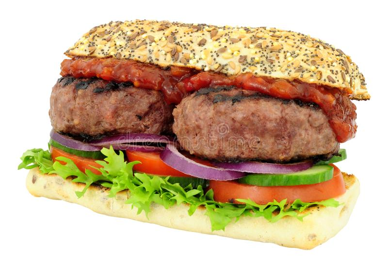 Double sandwich à beefburger images stock