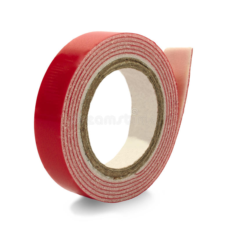 Double-sided adhesive tape coiled in a roll stock images