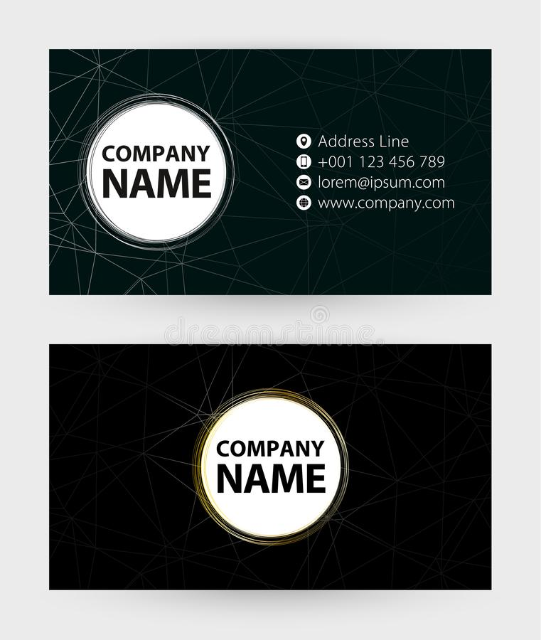 Double sided black Business Card template, 9x5 cm size stock illustration