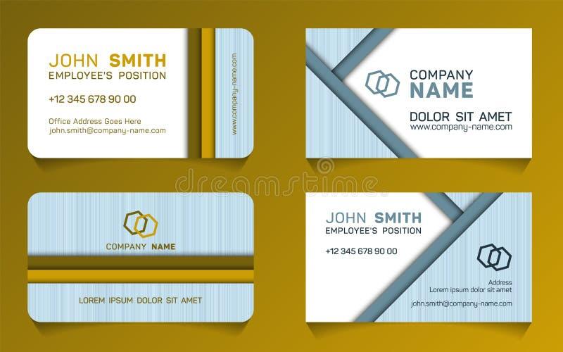 Double sided business card minimal idea templates 向量例证