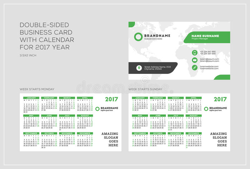 Double sided business card template with calendar for 2017 year double sided business card template with calendar for 2017 year week starts monday week starts sunday landscape orientation vector illustration flashek