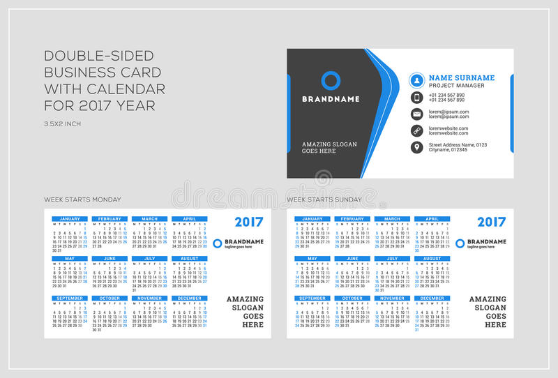Double sided business card template with calendar for 2017 year download double sided business card template with calendar for 2017 year week starts monday fbccfo