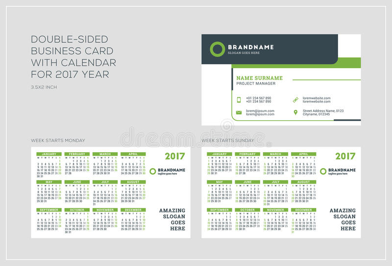Double sided business card template with calendar for 2017 year double sided business card template with calendar for 2017 year week starts monday week starts sunday landscape orientation vector illustration accmission Choice Image