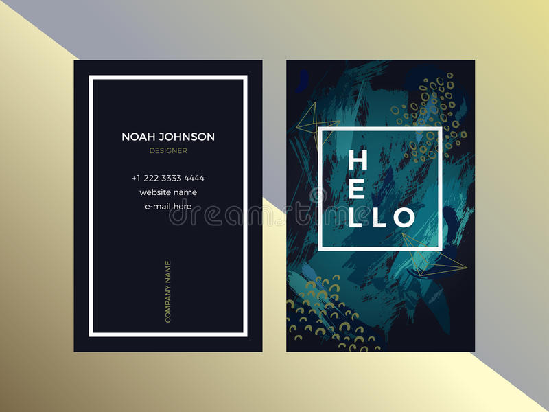 Double-sided Business Card Template In Green Color Stock Vector ...